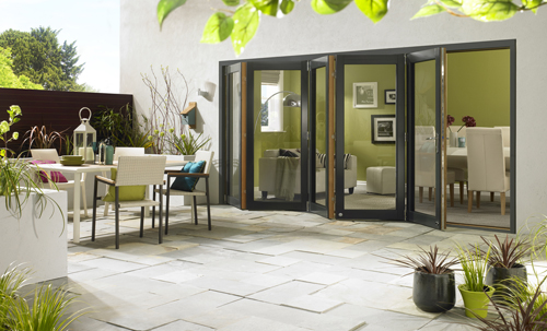 ultra grey 5 door WIDE open RT small Vufold ... & Vufold increases glass sizes in large size bifold sliding doors ...