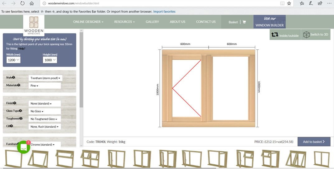 unique online windowbuilder tool for timber windows